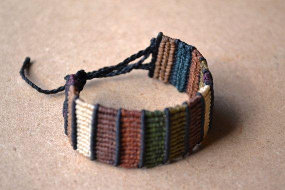 Earth Tone Macrame Bracelet/ Color Block/ Browns/ Macrame Jewelry/ Camo Colors
