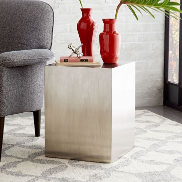 Metal Cube Side Table – Brushed Nickel in Brass as well for $199