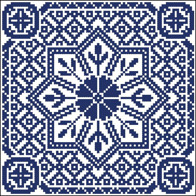 Big blue square | Chart for cross stitch or filet crochet.