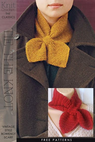 Needlecrafts,Knit, Crochet - Tie the Knot                    Image and knit tutorial |  here   Image and crochet tutorial |  here       ...