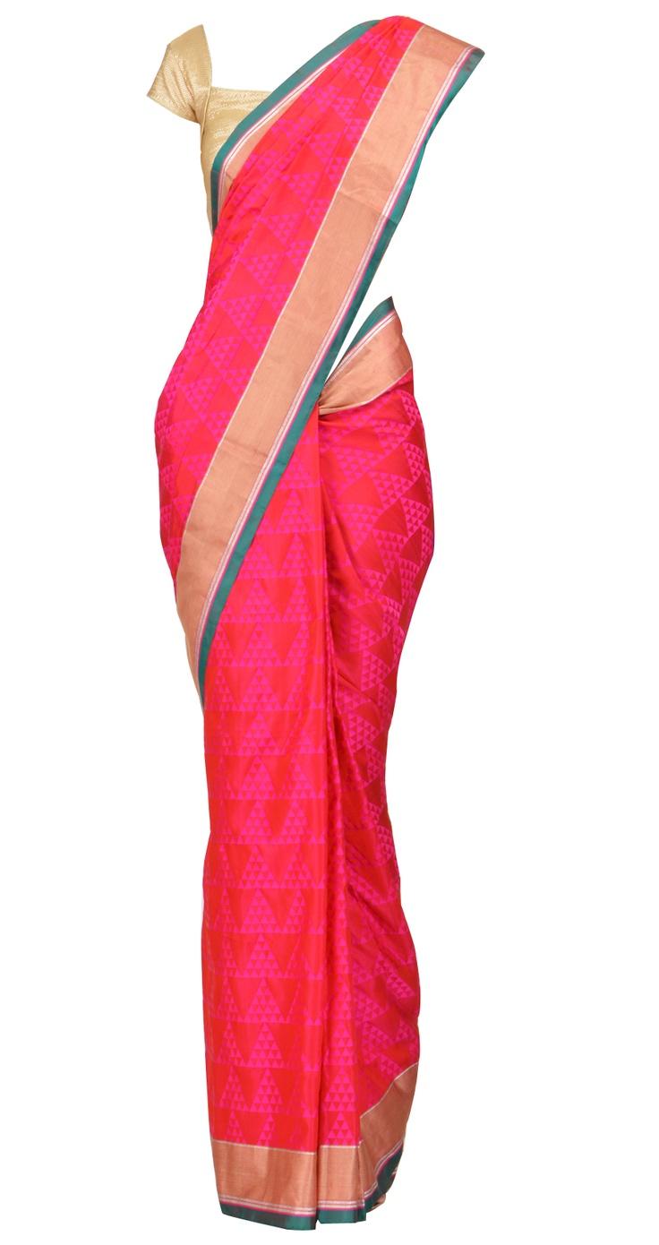Pink and purple geometrical print silk sari with silver stripes by EKAYA. Shop at https://www.perniaspopupshop.com/whats-new/ekaya