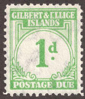 "Gilbert & Ellice Islands  1940 Postage Due Scott J1 1p emerald Note the printing error in ""Ellice""?"