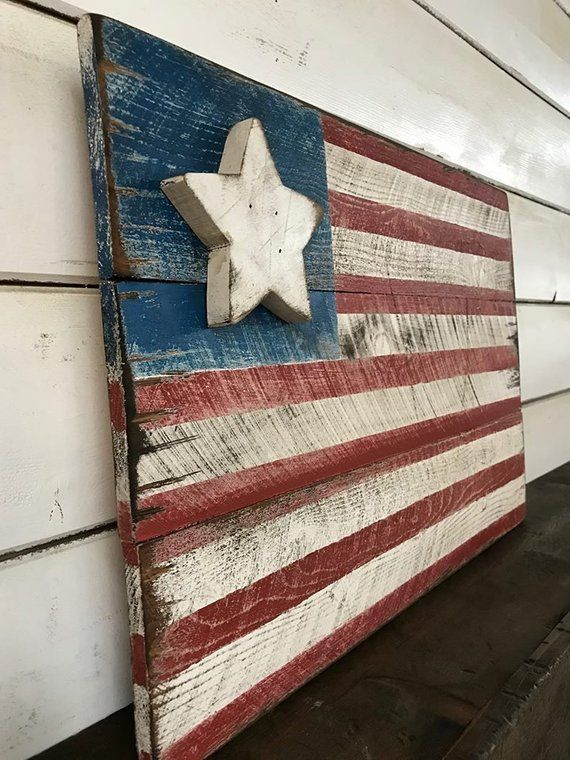 Americana Flag Barnwood Style Flag Distressed Flag Old West American Flag Pallet Old West Decor Pallet Flag