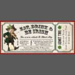 Charming old-timey vintage St. Patrick's Day Party Ticket Invitations. Eat, drink and be Irish! Antique, rustic feel with a fiddle violin playing leprechaun! Easy to customize with your own information. Please see my store for other ticket styles. Have fun!