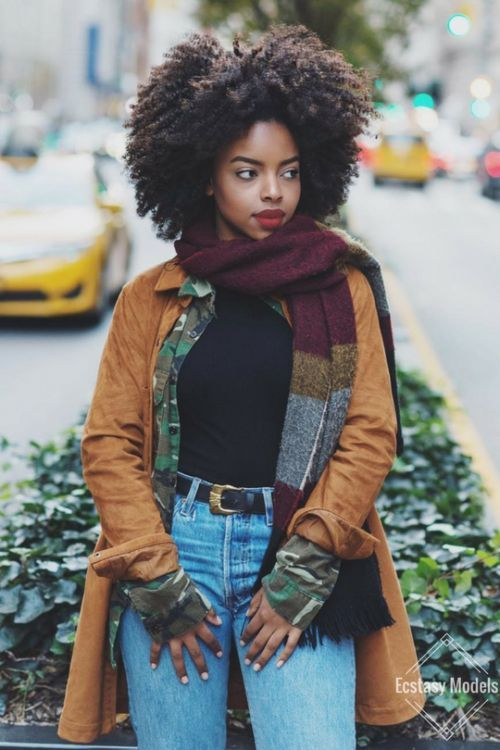 Melanin | Black Girl Magic | Fashion | Style | Thick Scarf | Natural Hair | Type 4 Hair | Trench Coat