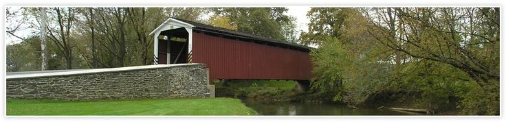 Historical covered bridge in Lancaster County, Pennsylvania