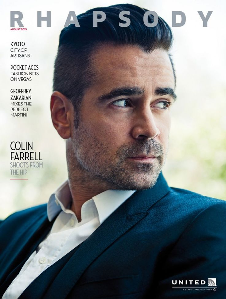 Colin Farrell covers the August 2015 issue of Rhapsody magazine. Photographed by Michael Muller, Farrell poses for relaxed images in sharp sportswear.