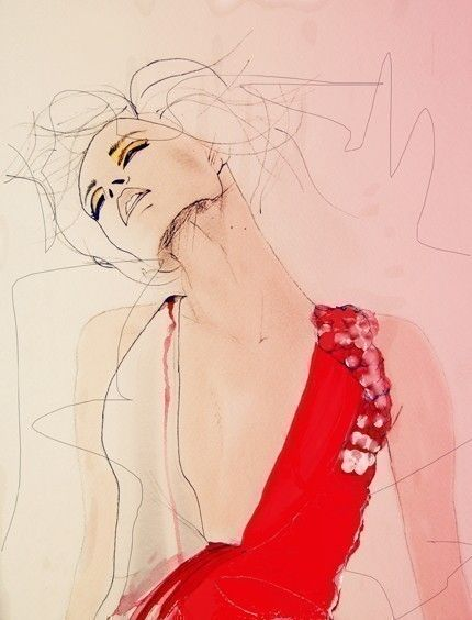 the movement. the color. #pink #red #fashion #illustration #drawing #watercolor #art