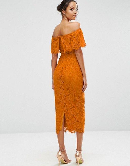 ASOS | ASOS Lace Crop Top Midi Bardot Pencil Dress