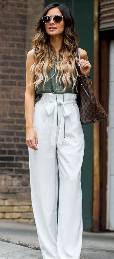 trendy summer office style: bag + top + pants