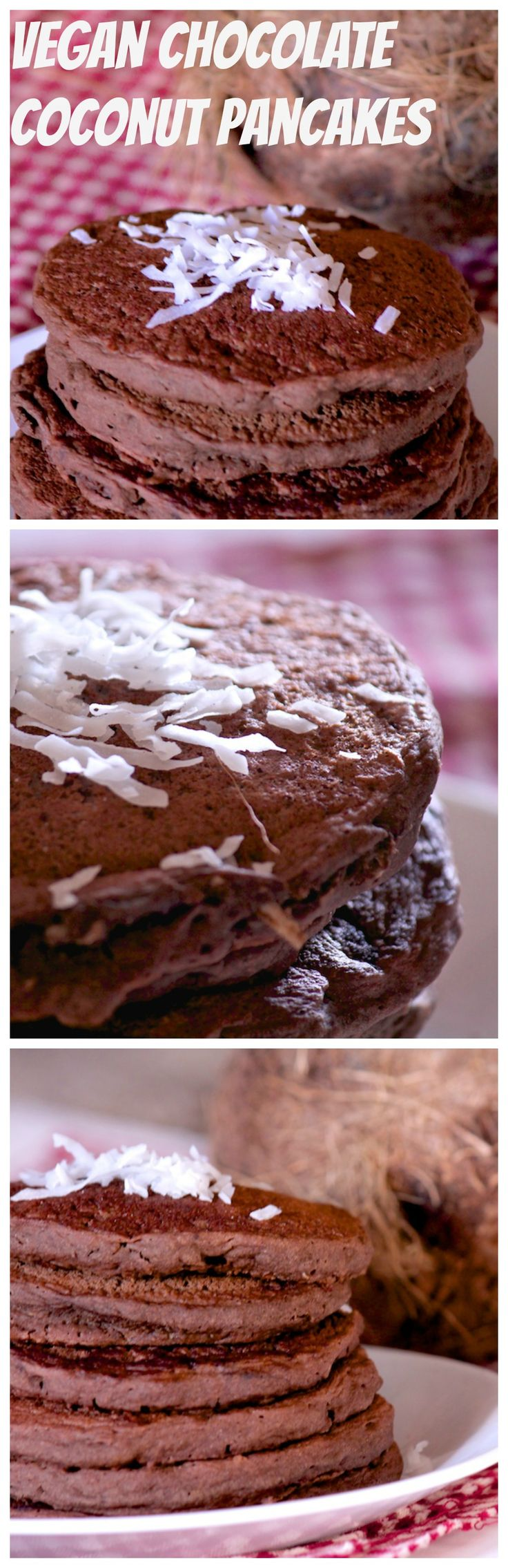 Vegan Chocolate Coconut Pancakes - These light and fluffy pancakes are rich and to die for - with no oil and no added sugar, they are delicious whole food pancakes!