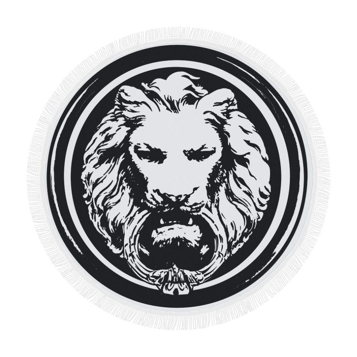 Round Large Lion Black and White Luxury Towel