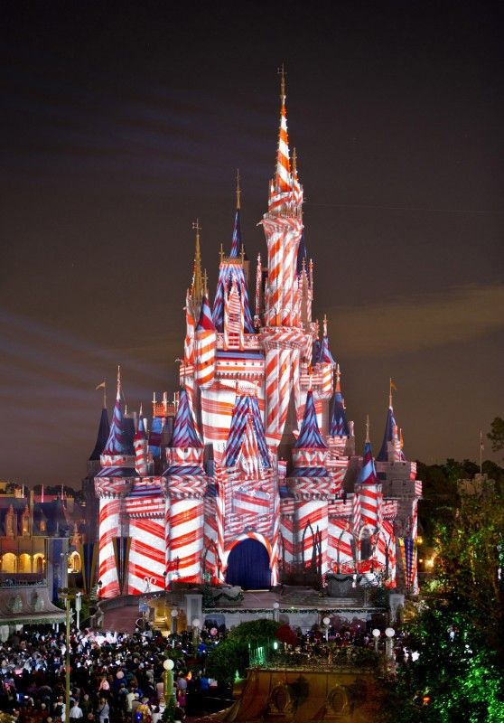 4th of JulyChristmas Parties, Disney Christmas, Walt Disney, Cinderella Castles, Fourth Of July, Disney World Resorts, Candies Canes, 4Th Of July, Red White