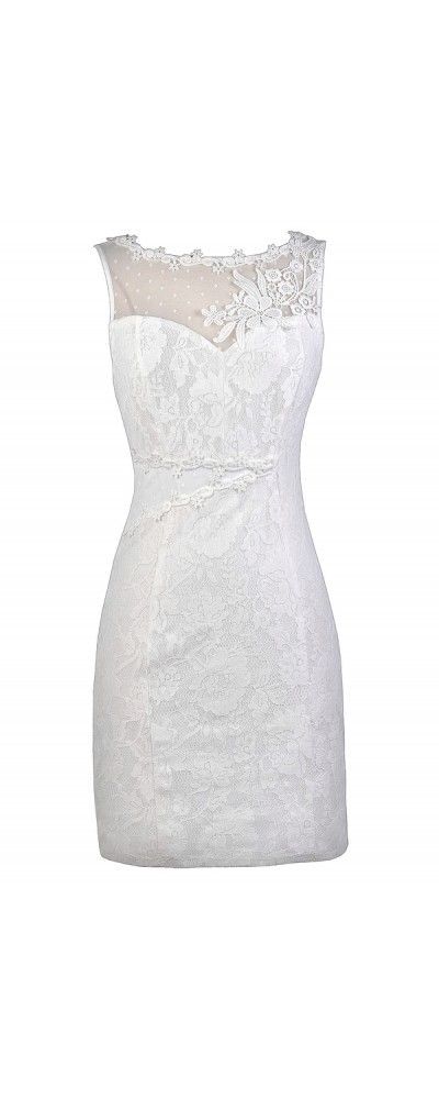 Lily Boutique Rehearsal Dinner Ready White Lace Dress, $36 White Bridal Shower Dress www.lilyboutique.com