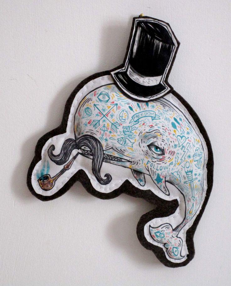 Mr Jhonny Whale fabric plush softie play/decoration hand painted - Decorazione/pupazzo gatto dandy dipinto a mano di ValentinaZummo su Etsy