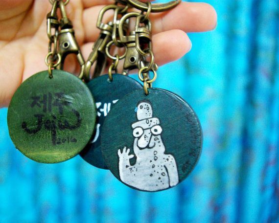 Jeju Harubang Keyring Handmade and hand painted under the sea colorful korean traditional culture keyring by lithuanian artist Agne Latinyte (aka yuujin, yuujinaga) on Etsy shop