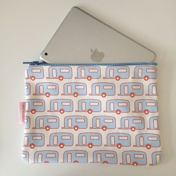 Retro Caravan iPad Mini Case Pencil Case in Gingham Blue & Orange- Hand Screenprinted on 100% Cotton Canvas by SalisburyRoad on Etsy