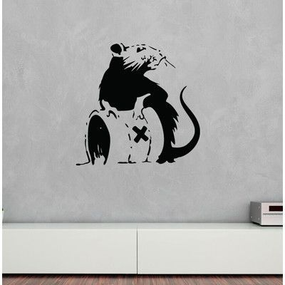 "Style and Apply Banksy Toxic Rat Wall Decal Color: Golden Yellow, Size: 39"" H x 39"" W"