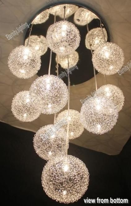 10 Light Clear Gl With Silver Aluminium Wire Round Hanging Chandelier Simple Lamps Pinterest Pendant Fixtures Lighting And