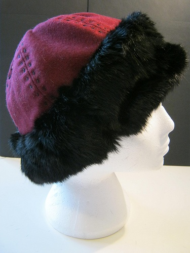 Wool and fur norse hat with wool top stitching The Midgard Seamstress www.facebook.com/themidgardseamstress
