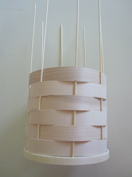 Woven Veneer Pendant - except re-use a lamp shade frame instead of embroidery hoops