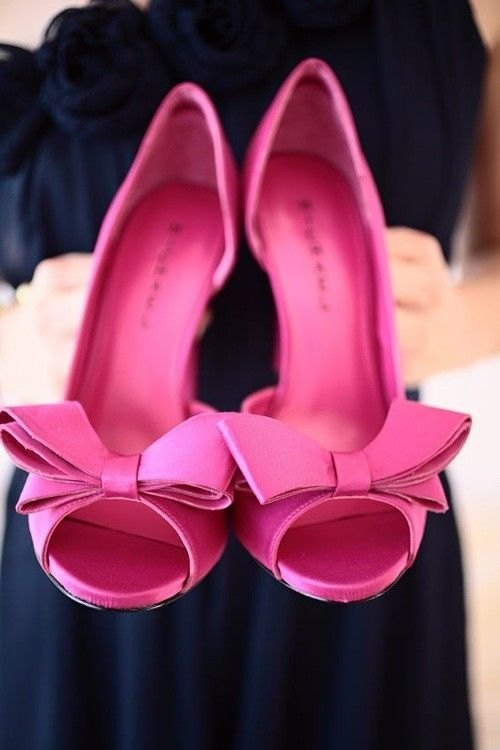 Pink High Heels with Bows! homecoming? | hair makeup and nails