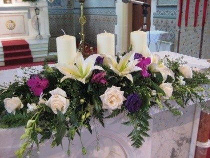 Floral Arrangements for Church Altars | Found on shadesofbloom.com