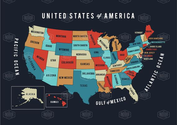 USA map print United States of America map USA by TheIndoorType