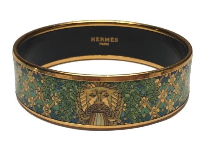 Hermes Vintage Bracelet Email Green Gold Plated Bracelets