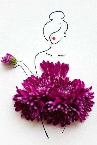 Floral Fashion Sketch, Illustration