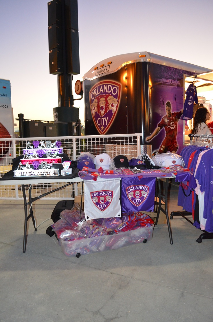 Our display set up at the Orlando City Soccer Club Team Store Trailer (The Orlando City Soccer Club Collector's Edition Display Lamp and Figurine Set at the 2013 Disney Pro Soccer Classic in Kissimmee, FL)