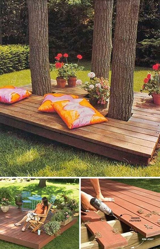 Diy Decking Ideas And Plans For The Beginners THE TOP PICTURE I WANT A SHIT LOAD OF THESE AROUND TREE'S NOT GRAIL STUFF EITHER BITCH BONTS!! I WANT THESE EVERYWHERE IN THE WOODS ON TH EMADONNA LASTNAME PROPERTY AND THE MOUNTAIN BEHIND ERMITS SO CALLED LAND THAT IS ACTUALLY LESLIE WOFFORD'S LAND.