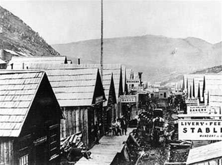 Main street of Barkerville, the centre of the Cariboo gold rush, early in 1868