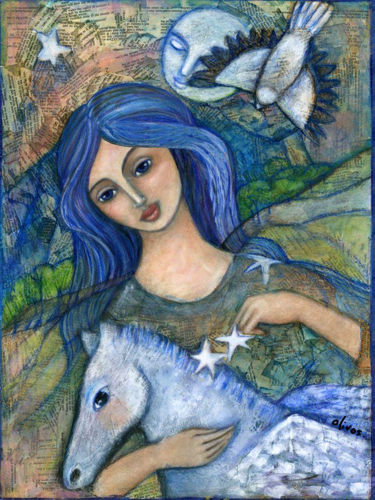 Goddess Art -  Welsh Goddess - Rhiannon - Goddess of Light - Inspirational wall art - Boho - gift for her - wall art decor by OlivosARTstudio on Etsy