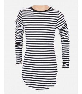 Crush Denim Black&White 8 T-Shirt LS Stripe