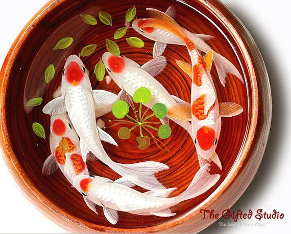 A school of Tancho Koi resin paintingresin by TheGiftedStudio