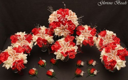 Red-Coral-Ivory-BEADED-Flower-Quinceanera-Bouquet-16-PC-Set-Beads-amp-Silk