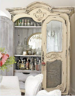 Love the mirror in the armoire! Antique french armoire turned bar cabinet: Decor, Ideas, Dining Room, Shabby Chic, Cabinets, Cabinet, Furniture, Bar Idea, Shabbychic