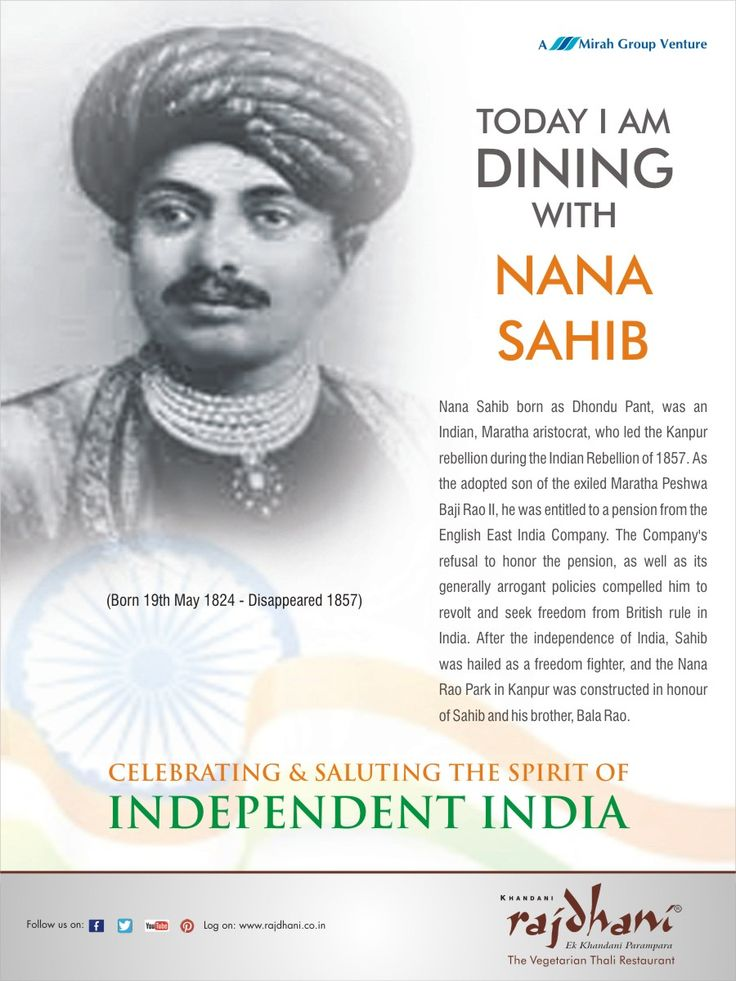 Nana Sahib was a Maratha aristocrat, who led the Kanpur rebellion during the Indian Rebellion of 1857.