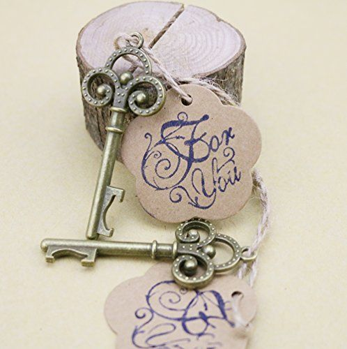 50-Packed Key Shaped Bottle Openers Wedding Favour with F…