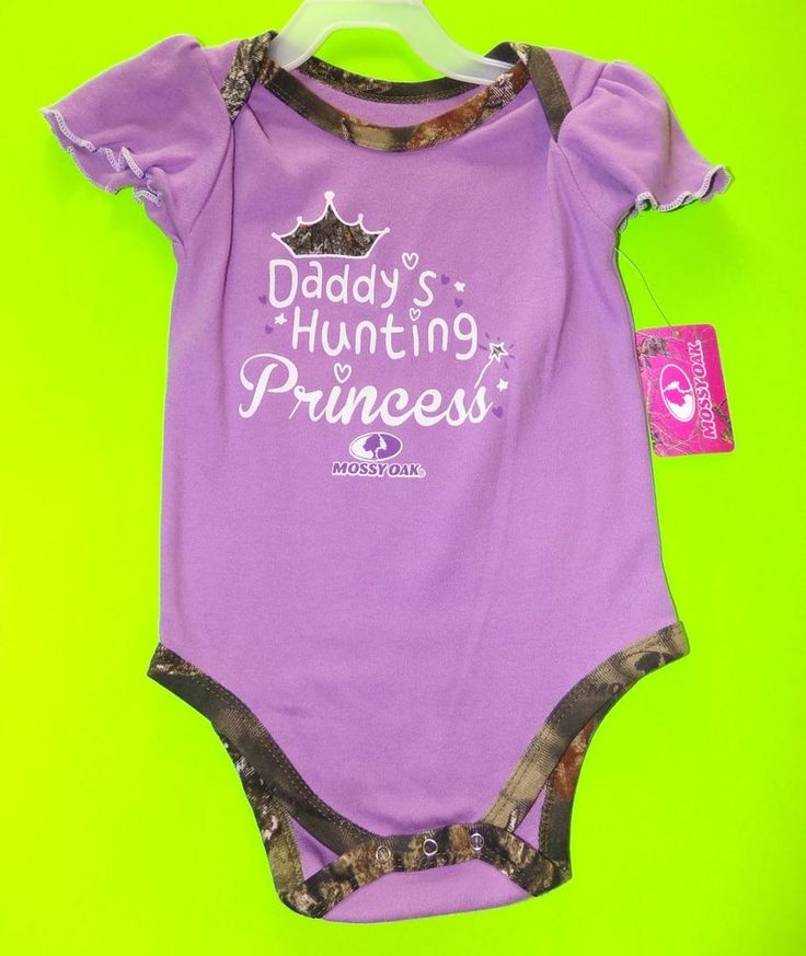 """Mossy Oak """"Daddy's Hunting Princess"""" Purple One Piece, Body Suit With Short Sleeves. Size: 18M. View pictures for details.   eBay!"""