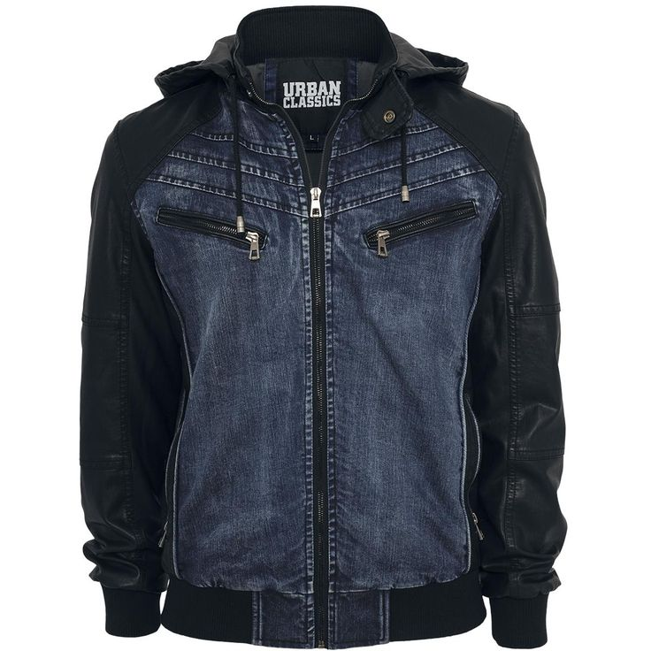 Hooded Denim Leatherlook Jacket - Jacket by Urban Classics - Article Number: 270446 - from 73.99 € - EMP Merchandising ::: The Heavy Metal M...