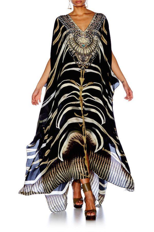 Camilla - Zebra Crossing / Split Front & Sleeve Kaftan