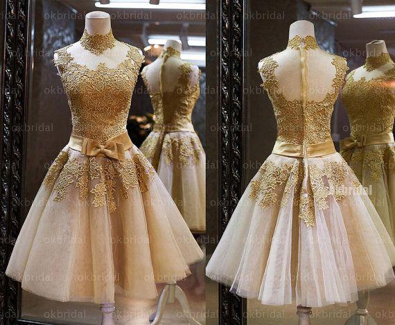 lace prom dresses gold prom dresses short prom dress by okbridal, $228.00