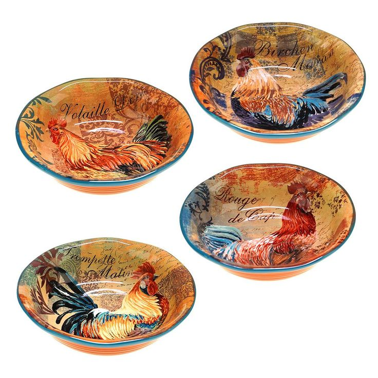 Certified International Rustic Rooster 4-pc. Pasta Bowl Set, Multicolor