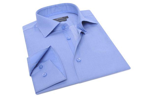 Chemise ciel à carreaux vichy (Double Retors), Chemises cintrées - Chemise Homme