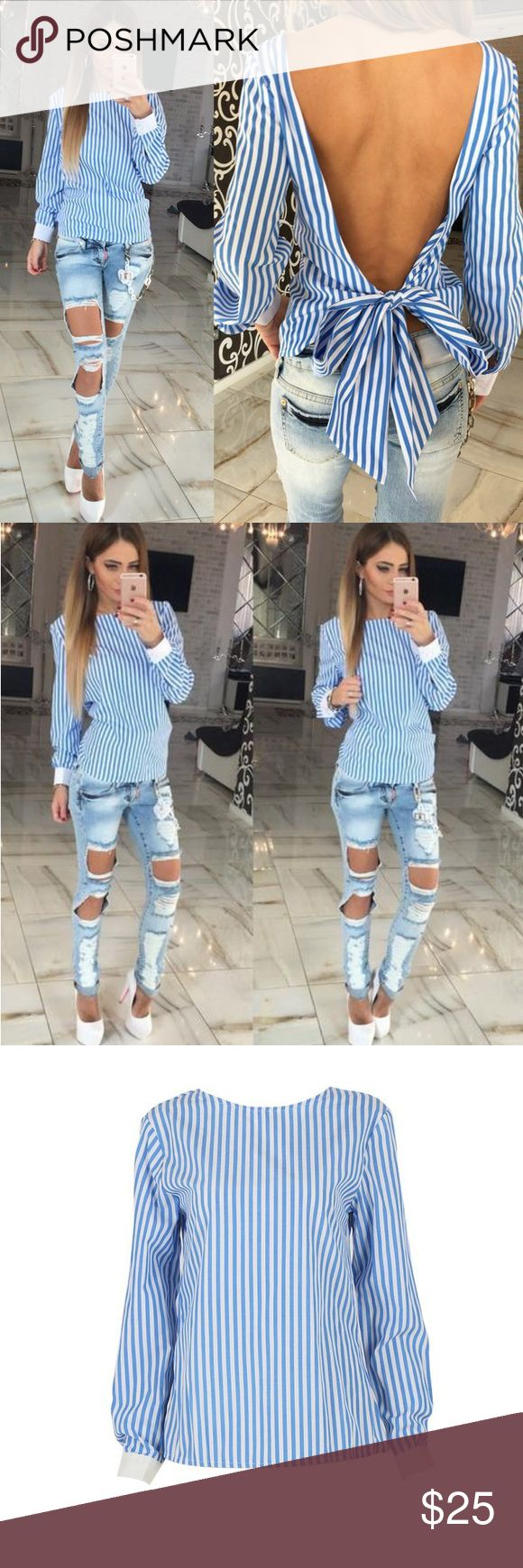 Backless Stripe Top✌ Be trendy and different with this backless shirt  Style: fashion style Sleeve Type:Long  Sleeve Collar:Round Collar Tops Blouses