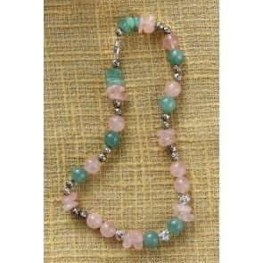 Rose Quartz & Aventurine necklace, 42cm