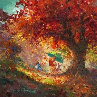 James Coleman Autumn Leaves Gently Falling From Disney Winnie The Pooh  Original Oil on Canvas CEALGF $12000.00