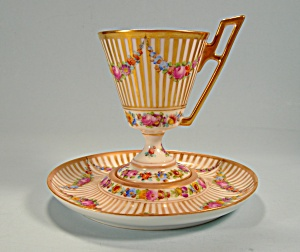 Dresden Pedestal Cup and Saucer Garlands of Flowers (Cups & Saucers-Cabinet